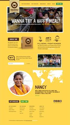 Rice Bowls charity website design – Fill Bowls, Fight Hunger