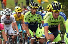 PRESLE, FRANCE - JULY 12: Alberto Contador (C) of Spain and Tinkoff-Saxo rides ahead of Vincenzo Nibali (2L) of Italy and the Astana Pro Team in the overall race leader's yellow jersey and World Champion Rui Costa (L) of Portugal and Lampre-Merida on the climb of Col de la Croix des Moinats during stage eight of the 2014 Le Tour de France from Tomblaine to Gerardmer La Mauselaine on July 12, 2014 in Presle, France. (Photo by Doug Pensinger/Getty Images)