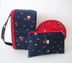 Vintage 70s 3 Piece Travel Bag Set // Makeup // by MKRetro on Etsy, $28.00