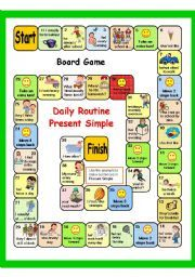 English worksheet: PRESENT SIMPLE + DAILY ROUTINE (PART 4) 2 GAMES - BOARD GAME + key AND BATTLESHIP - fully editable.