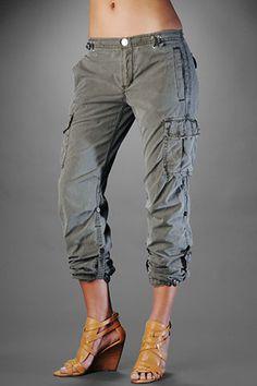 Would this work on me? I feel like the cropped leg might make my legs look stumpy. - True Religion Women's Sammy Cargo Pants - Military Green $178.00
