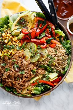 Chipotle Lime Carnitas Salad | Crispy Carnitas in a salad drizzled with an incredible Chipotle Lime Dressing and a low carb Cilantro Lime Rice! | http://cafedelites.com Grilled Peppers, Salad Dressing Recipes, Best Salad Recipes, Healthy Salads, Clean Eating Salads, Healthy Eats, Healthy Dinners, Easy Meals, Mexican Food Recipes
