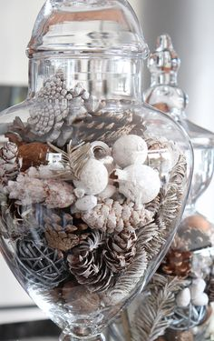 Love your kitchen! Apothecary jars filled with seasonal filler is a beautiful way to accessorize and decorate your kitchen!