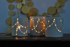 "Made to Order: Handmade Ceramic Luminary, ""Garlands of Light"", Straight Sides, Dove Grey to Cream. Festive Holiday Luminaries by Naomi Anita"