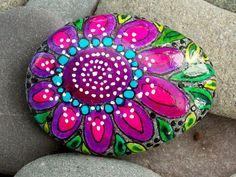 Zen Flower / Painted Rock / Sandi Pike Foundas / Cape Cod / Beach Stone