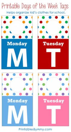 Printable Days of the Week Closet Tags are a simple way to get organized for back to school and help kids get dressed on their own in the mornings! Last Day Of School, Beginning Of School, School Fun, School Days, Organized Mom, Getting Organized, Activities For Kids, Crafts For Kids, Back To School Organization