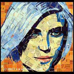 Sandhi Schimmel Gold Contemporary Virginia artists mixes paint and collage to create a new style of portrait art