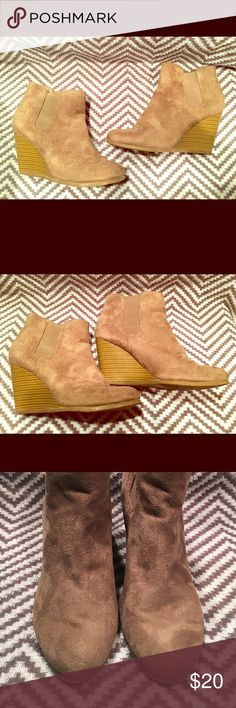 MERONA tan wedge booties Good condition. A few minor scuffs- see pictures. These are great for every day wear. Merona Shoes Ankle Boots & Booties
