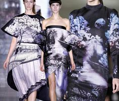Love these photo-real and scenic prints from the catwalk. Would be great to upholster a chair in one.