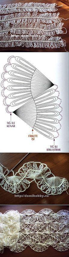 Вязание на вилке палантина