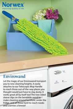 """One of my fav products!!!!  """"Norwex Envirowand with two sided sleeve - attaches to our Norwex Telescopic Mop Handle to reach those out-of-the-way places you thought would just have to stay dusty. It works great all by itself too! The two-sided sleeve slips on the bendable wand to make cleaning around furniture, under the fridge, and all those hard-to-reach nooks and crannies a breeze! 2-year warranty  Size: 7.5cm x 67cm / 3"""" x 26.4"""" Item# 357051"""""""