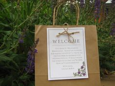 Welcome bags..what's better than a bag full of goodies and celebrating a great couple for a weekend??