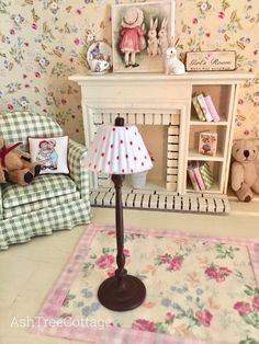 Ash Tree Cottage: A Mini Floor Lamp Makeover Floor Lamp Makeover, Ash Tree, Bright Homes, Modern Cottage, Little Girl Rooms, Miniture Things, Hobbies And Crafts, Flooring, Doll Houses