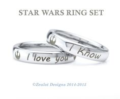 Star Wars Ring Set Tungsten Wedding Band Ring Mens Womens Polished Domed Silver Fanatic Geek Anniversary Engagement Set ALL Sizes Available