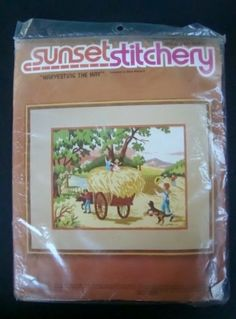 Sunset Stitchery Crewel Embroidery Kit, Harvesting the Hay, Vintage 1980s