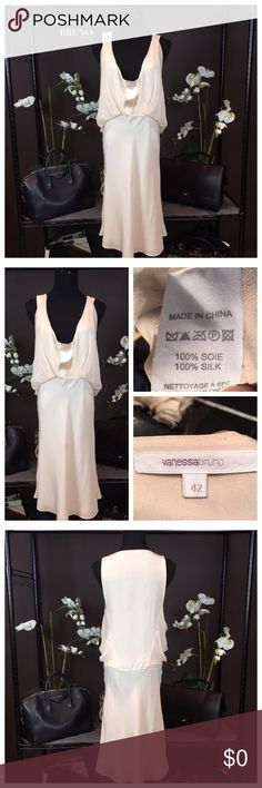 """CREAM SILK DRESS BY VANESSA BRUNO Stunning! Vanessa Bruno! Fabulous dress that features a scoop neck and sheer overlay at bodice. Color: Cream. Material: 100% Silk. Size M US6, IT42 Approx Measurements: Waist 28"""", Hip 40"""", Length 41"""". Condition: Excellent. Sold Out!  Vanessa Bruno Dresses"""