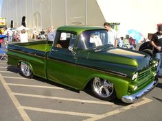 Sweet 56 Chevy Apache 2 toned green, lowered ride!!!