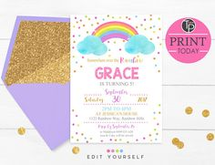 RAINBOW INVITATIONS, Instant Download, Watercolor Rainbow Invitation, Rainbow Party Pastel Rainbow Invitation, Pink Rainbow Invitations