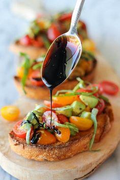 Avocado Bruschetta with Balsamic Reduction | Best chef recipes