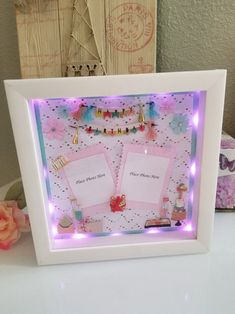 Happy Birthday Light Up Shadow Box Picture Frame Birthday Photo Frame, Bff Birthday Gift, Birthday Frames, Birthday Gifts For Best Friend, Happy Birthday, Birthday Box, Flower Shadow Box, Diy Shadow Box, Shadow Box Picture Frames