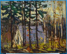 Tom Thomson: Artist's Camp, Canoe Lake, Algonquin Park, 1915 Group Of Seven Artists, Group Of Seven Paintings, Canadian Painters, Canadian Artists, Landscape Art, Landscape Paintings, Small Paintings, Acrylic Paintings, Oil Paintings