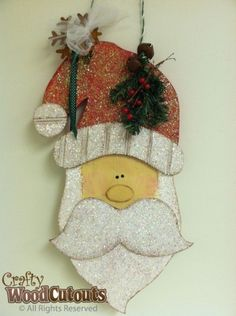 Hanging Santa Claus Head Wood Craft. This craft is about 25″ wide by 8.5″ tall and costs $15.99.