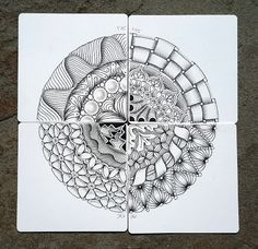 Zentangle plates is a concept where 4 tiles are put together. They all have the same circular strings but are tangled with their own ta. Chicago Area, Zentangles, Tangled, Diva, Trips, Challenges, Plates, Patterns, Artwork