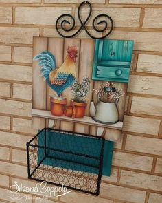Country Paintings, Dollar Tree Crafts, Gisele, Decoupage, Nova, Shelves, Home Decor, Key Fobs, Wood Paintings