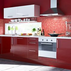 Kitchen-compare.com - IKEA Abstrakt High Gloss Red.