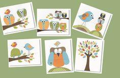 nursery art nursery decor baby nursery print kids by GalerieAnais birds, owls and tree leaves.