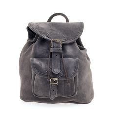 Suede Leather Backpack, Handmade in Greece, Radiant Colors Gray, Brown, Black