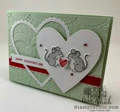 Valentine card uses Stampin' Up!'s Be Mine Stitched Framelits and a cute mo.This Valentine card uses Stampin' Up!'s Be Mine Stitched Framelits and a cute mo. Valentine Day Cards, Happy Valentines Day, Valentine Ideas, Anniversary Cards For Couple, Homemade Valentines, Animal Cards, Heart Cards, Penny Black, Funny Cards