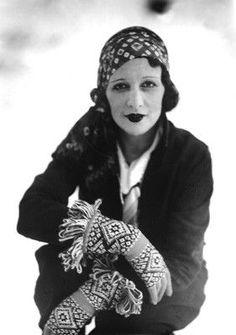 Bibi, wife of Jacques Henri Lartigue, French photographer. Photograph taken at Megeve, January 1930.