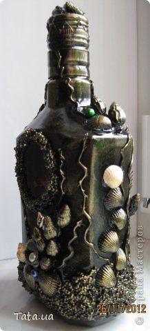 Здравствуйте! Выставляю на Ваш суд бутылочки по технике Пейп-Арт и уже полюбившийся мне морской тематике. фото 10