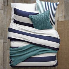 Layered Bed Looks - Rest Azure | west elm-I like the navy and teal...would it be too much to add a touch of yellow?