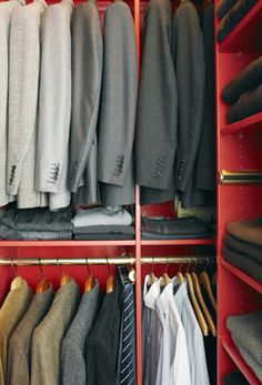 """Matching hangers -- a must!!  Never thought of using the """"shelf"""" for storage underneath the jackets-great use of space. Red Paint Colors, Painted Closet, Closet Vanity, Manhattan Apartment, Master Closet, Closet Organization, Organizing, Shades Of Red, Apartment Design"""
