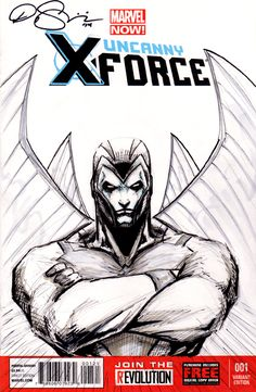 Uncanny X-Force sketch cover commission featuring Archangel