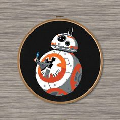 "Instant download PDF cross stitch pattern of BB8 giving the ""Thumb's Up"" - from Star Wars: The Force Awakens"