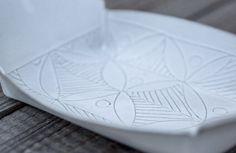 White Ceramic Tray White Stoneware Tray Winged by FreeFolding