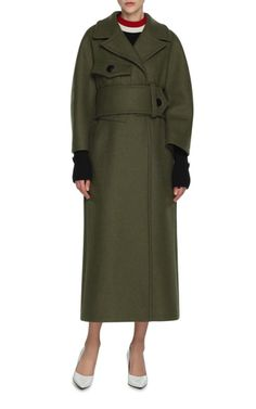 Oversized Belted Coat by MARNI - Wide self belt Concealed snap buttons Composition: 81% virgin wool 19% nylon Color: Army Green Fully lined