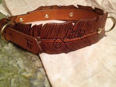 WIDE Feather Hand Tooled Leather Dog Collar by FinelyTooled, $60.00