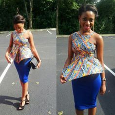 Spotted multicolour blouse with plain blue skirt