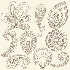 Henna Doodle Paisley Design Elements royalty-free henna doodle paisley design elements stock vector art & more images of abstract Paisley Doodle, Henna Doodle, Paisley Art, Paisley Design, Henna Art, Doodle Art, Henna Mehndi, Mehendi, How To Doodle