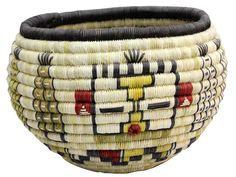 "Tressa Kagenveama, Hopi Coil Basket, Corn Maidens, 8 1/2' x 6"" - $1,380.00"