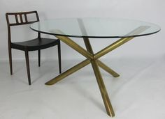 1stdibs | Italian Brass Tripod Dining Table