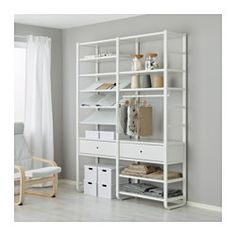IKEA - ELVARLI, 2 section shelving unit, You can always adapt or complete this open storage solution as needed. Maybe the combination we've suggested is perfect for you, or you can easily create your own.Adjustable shelves and clothes rail make it easy for you to customize the space according to your needs.You can combine open and closed storage - shelves for your favorite things and drawers for the things you want to store away.Drawers with integrated dampers close slowly, silently and…