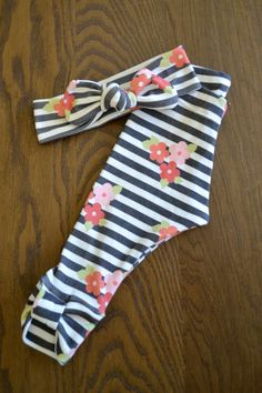 Organic Cotton Black and White Stripe with Flowers Legging and Top Knot Headband Set for Girls -Baby Girl Set -Organic Leggings and Headband on Etsy, $27.00