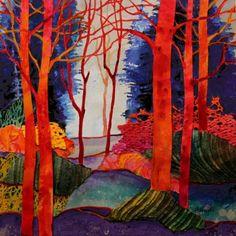 Mixed Media Abstract Tree Landscape Painting, Fantasia 2 by Colorado Mixed Media Artist Carol Nelson Fine Art -- Carol Nelson