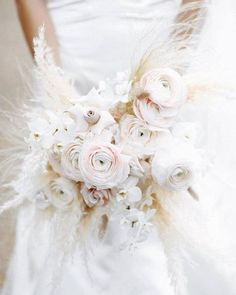 Amazing bridal bouquet of feathery pampas grass, blush ranunculus and nude roses #pampas #bohwedding #bohoglam Wedding Tips, Special Day, Marriage Tips