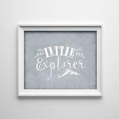 Buy One Get One Free Art Print - Little Explorer - Typography art poster -  Grey white - minimalist - adventure - nursery- mountain- SKU:307